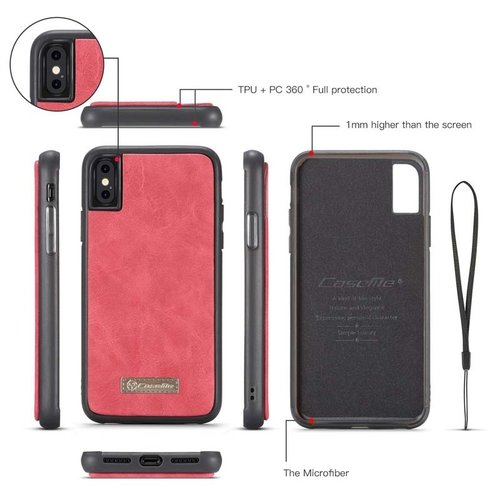 CaseMe CaseMe - iPhone X/Xs hoesje - Wallet Book Case met Ritssluiting - Rood