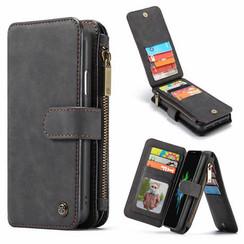 CaseMe - iPhone XR hoesje - Wallet Book Case met Ritssluiting - Zwart