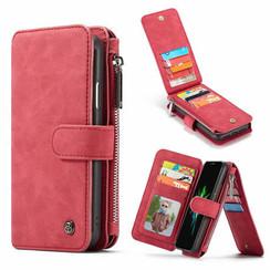 CaseMe - iPhone XR hoesje - Wallet Book Case met Ritssluiting - Rood