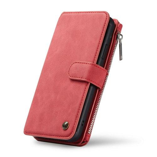 CaseMe CaseMe - iPhone XR hoesje - Wallet Book Case met Ritssluiting - Rood