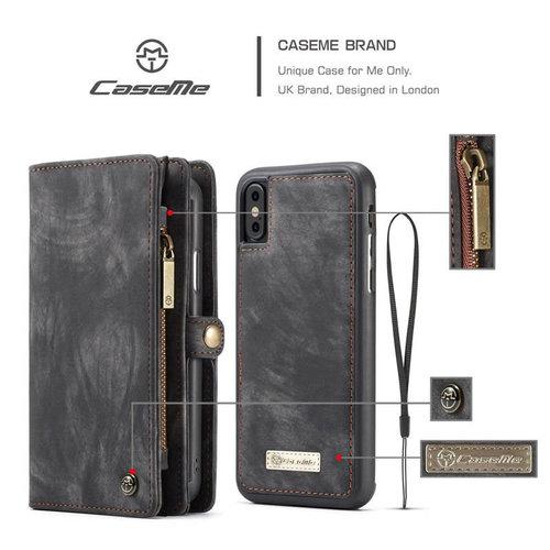 CaseMe CaseMe - iPhone Xs Max hoesje - 2 in 1 Wallet Book Case - Zwart