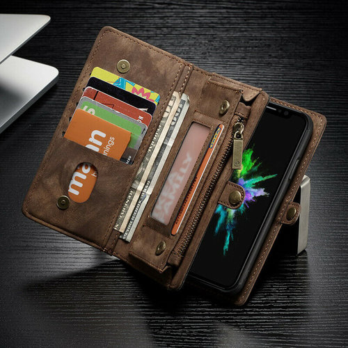 CaseMe CaseMe - iPhone Xs Max hoesje - 2 in 1 Wallet Book Case - Bruin