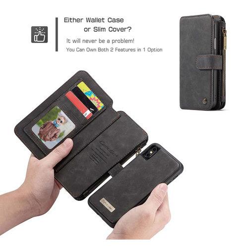 CaseMe CaseMe - iPhone XS Max hoesje - Wallet Book Case met Ritssluiting - Zwart
