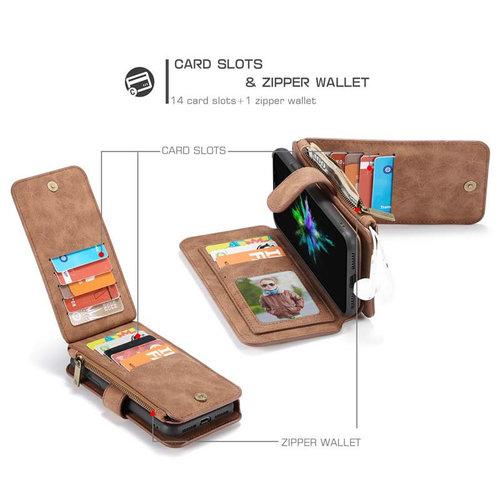 CaseMe CaseMe - iPhone XS Max hoesje - Wallet Book Case met Ritssluiting - Bruin