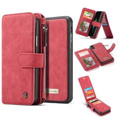 CaseMe - iPhone XS Max hoesje - Wallet Book Case met Ritssluiting - Rood