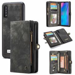 CaseMe - Huawei P30 hoesje - 2 in 1 Wallet Book Case - Zwart