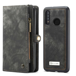 CaseMe - Case for Huawei P30 Lite - Wallet Case Whiteh Card Holder, Magnetic Detachable Cover - Black