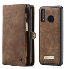 CaseMe - Case for Huawei P30 Lite - Wallet Case Whiteh Card Holder, Magnetic Detachable Cover - Coffee Brown