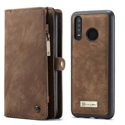 CaseMe - Huawei P30 Lite hoesje - 2 in 1 Wallet Book Case - Donker Bruin
