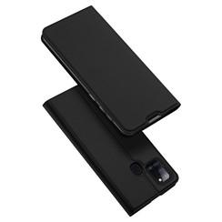 Dux Ducis - Case for Samsung Galaxy A21s - Ultra Slim PU Leather Flip Folio Case Whiteh Magnetic Closure - Black