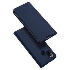 Dux Ducis - Case for Samsung Galaxy A21s - Ultra Slim PU Leather Flip Folio Case Whiteh Magnetic Closure - Blue