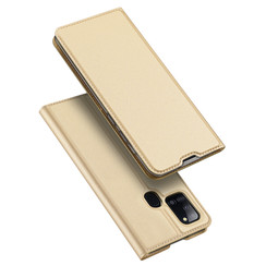 Dux Ducis - Case for Samsung Galaxy A21s - Ultra Slim PU Leather Flip Folio Case Whiteh Magnetic Closure - Gold