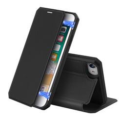 Dux Ducis - Case for Apple iPhone SE 2020 - Skin X Series Magnetic Flip Case Whiteh Card Slot - Black