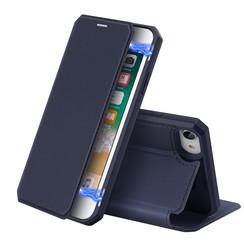 Dux Ducis - Case for Apple iPhone SE 2020 - Skin X Series Magnetic Flip Case Whiteh Card Slot - Navy Blue