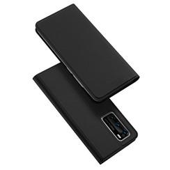 Dux Ducis - Case for Huawei P40 Pro - Ultra Slim PU Leather Flip Folio Case Whiteh Magnetic Closure - Black