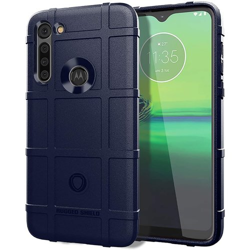 Cover2day Case for Motorola Moto G8 - Heavy Duty Armor Shockproof TPU Cover - Blue