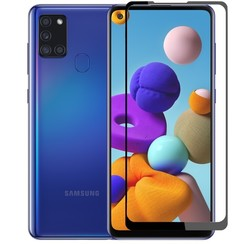 Samsung Galaxy A21s Screenprotector - Full Cover Screenprotector - Case-Friendly - Black
