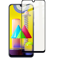 Samsung Galaxy M21 - Full Cover Screenprotector - Case-Friendly - Zwart