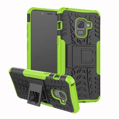 Cover2day  Case for Samsung Galaxy A8 Plus - Heavy Duty Hybrid Tough Rugged Dual Layer Armor - Kickstand Cover - Green