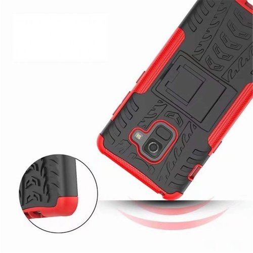 Cover2day  Case for Samsung Galaxy A8 Plus - Heavy Duty Hybrid Tough Rugged Dual Layer Armor - Kickstand Cover - Red