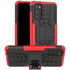 Case for Samsung Galaxy S20 - Heavy Duty Hybrid Tough Rugged Dual Layer Armor - Kickstand Cover - Red