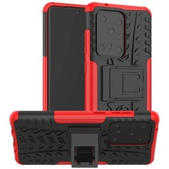 Case for Samsung Galaxy S20 Ultra - Heavy Duty Hybrid Tough Rugged Dual Layer Armor - Kickstand Cover - Red