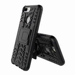 Case for Honor 9 Lite - Heavy Duty Hybrid Tough Rugged Dual Layer Armor - Kickstand Cover - Black