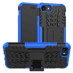 Case for iPhone SE 2020 - Heavy Duty Hybrid Tough Rugged Dual Layer Armor - Kickstand Cover - Blue