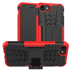 Case for iPhone SE 2020 - Heavy Duty Hybrid Tough Rugged Dual Layer Armor - Kickstand Cover - Red