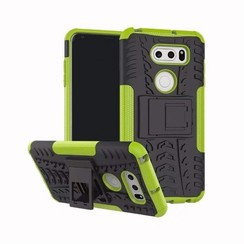 Case for LG V30s ThinQ - Heavy Duty Hybrid Tough Rugged Dual Layer Armor - Kickstand Cover - Green