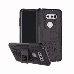 Case for LG V30s ThinQ - Heavy Duty Hybrid Tough Rugged Dual Layer Armor - Kickstand Cover - Black