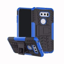 Case for LG V30s ThinQ - Heavy Duty Hybrid Tough Rugged Dual Layer Armor - Kickstand Cover - Blue