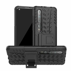 Case for Xiaomi Mi 10 (Pro) - Heavy Duty Hybrid Tough Rugged Dual Layer Armor - Kickstand Cover - Black