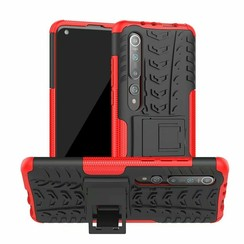 Case for Xiaomi Mi 10 (Pro) - Heavy Duty Hybrid Tough Rugged Dual Layer Armor - Kickstand Cover - Red