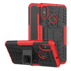 Case for Xiaomi Mi 8 - Heavy Duty Hybrid Tough Rugged Dual Layer Armor - Kickstand Cover - Red