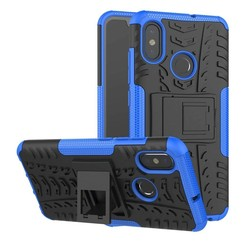 Case for Xiaomi Mi 8 - Heavy Duty Hybrid Tough Rugged Dual Layer Armor - Kickstand Cover - Blue