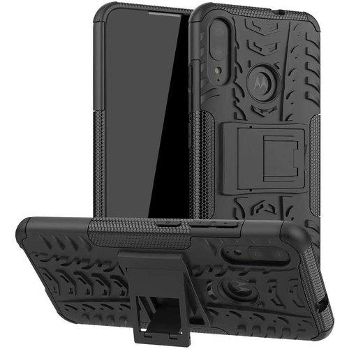 Cover2day  Case for Motorola Moto E6 Plus - Heavy Duty Hybrid Tough Rugged Dual Layer Armor - Kickstand Cover - Black