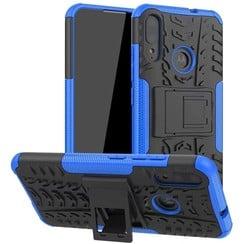 Case for Motorola Moto E6 Plus - Heavy Duty Hybrid Tough Rugged Dual Layer Armor - Kickstand Cover - Blue