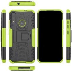 Case for Motorola Moto E6 Plus - Heavy Duty Hybrid Tough Rugged Dual Layer Armor - Kickstand Cover - Green