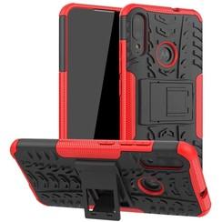 Case for Motorola Moto E6 Plus - Heavy Duty Hybrid Tough Rugged Dual Layer Armor - Kickstand Cover - Red
