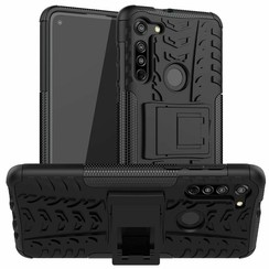 Case for Motorola Moto G8 - Heavy Duty Hybrid Tough Rugged Dual Layer Armor - Kickstand Cover - Black
