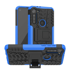 Case for Motorola Moto G8 - Heavy Duty Hybrid Tough Rugged Dual Layer Armor - Kickstand Cover - Blue