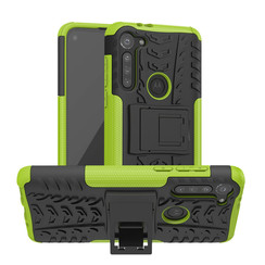 Case for Motorola Moto G8 - Heavy Duty Hybrid Tough Rugged Dual Layer Armor - Kickstand Cover - Green