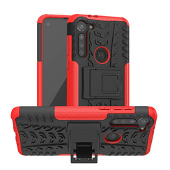 Case for Motorola Moto G8 - Heavy Duty Hybrid Tough Rugged Dual Layer Armor - Kickstand Cover - Red