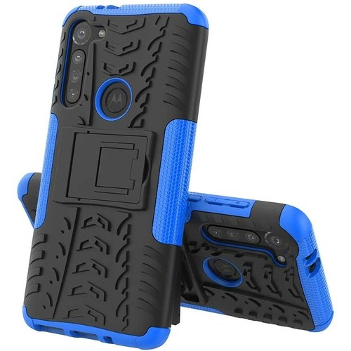 Cover2day  Case for Motorola Moto G8 Power - Heavy Duty Hybrid Tough Rugged Dual Layer Armor - Kickstand Cover - Blue
