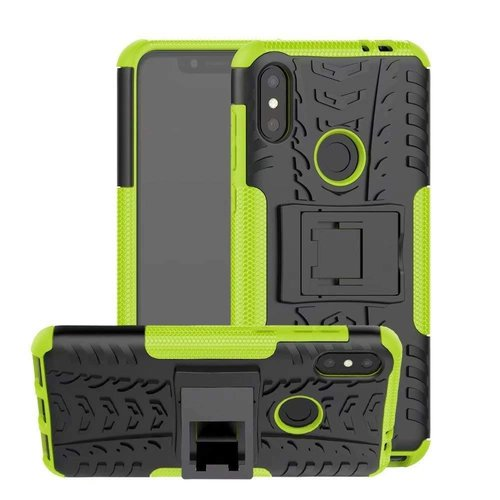 Cover2day  Case for Motorola Moto One Power (P30 Note) - Heavy Duty Hybrid Tough Rugged Dual Layer Armor - Kickstand Cover - Green