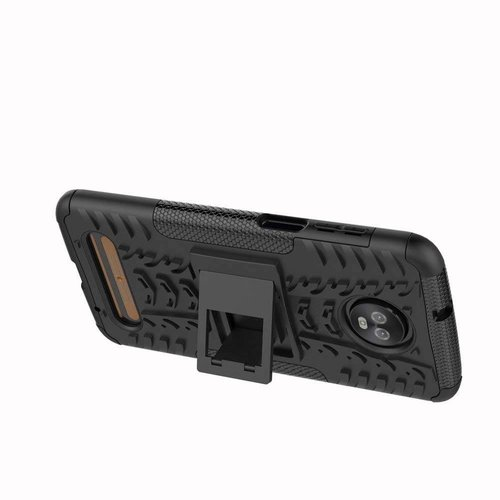 Cover2day  Case for Motorola Moto Z3 Play - Heavy Duty Hybrid Tough Rugged Dual Layer Armor - Kickstand Cover - Black