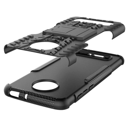 Cover2day  Case for Motorola Moto Z4 Play - Heavy Duty Hybrid Tough Rugged Dual Layer Armor - Kickstand Cover - Black