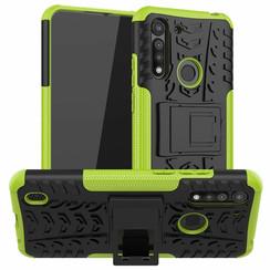 Motorola One Macro Hoesje - Schokbestendige Back Cover - Groen