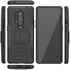 Case for OnePlus 8 Pro - Heavy Duty Hybrid Tough Rugged Dual Layer Armor - Kickstand Cover - Black